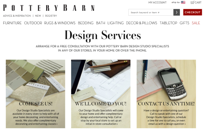 Pottery Barn Design Services